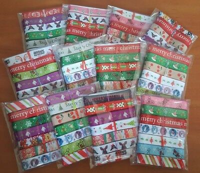 ASSORTED  CHRISTMAS PATTERN 3/8 (9mm) RANDOM PIECES GROSGRAIN RIBBON