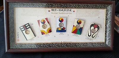 Korean Traditional 5 Kites in frame Excellent Condition beautiful colours good