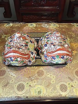 Chinese Antiques Ceramic Frog Red And White Large Pair With Baby Frog Lid On Top