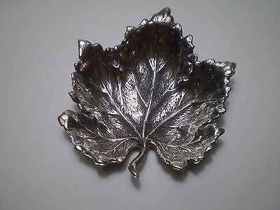 Unique Antique Greek Artisfact Hand Made 925 Stamped Silver Maple Leaf Bowl.