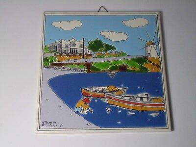 Old Rare Greek Traditional HandMade Painted Tile Ceramic 6''- PAROS ISLAND.