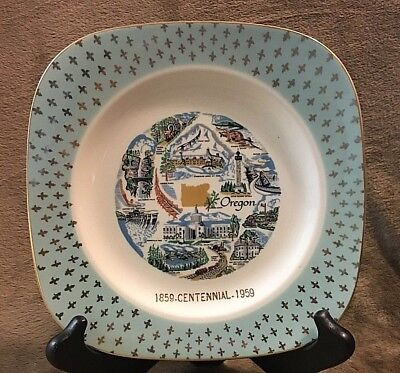 State Of Oregon 1859-1959 Centennial Square Round Commemorative Wall Plate