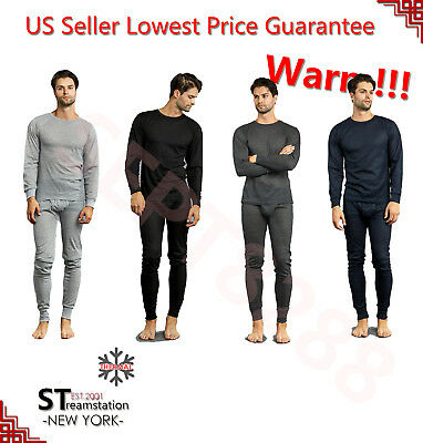 Mens 2 pc Thermal Underwear Set Long Johns Knit Top Bottom Set