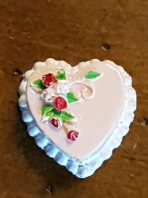 Miniature dolls house accessories Pink Heart shape Cake 1:12th  scale