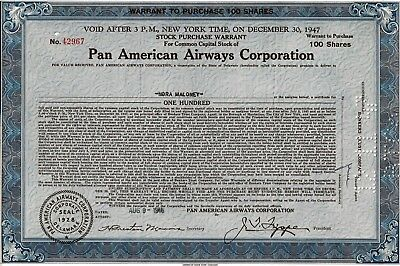 Pan American Airways Corporation Warrant 1946 (100 Shares)