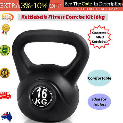 Kettlebells Workout Fitness Weight Training Home Gym Body Strength Exercise 16KG