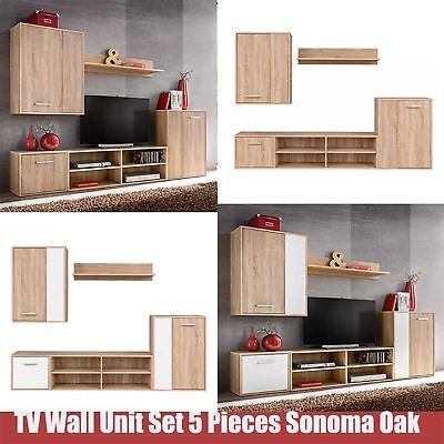 Living Room Furniture TV Wall Unit Set Mounted Cupboard Cabinet 5 Pcs Sonoma Oak
