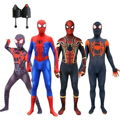 Spider Man Into the Spider Verse Cosplay Costume Kid Adult Iron Spiderman suit