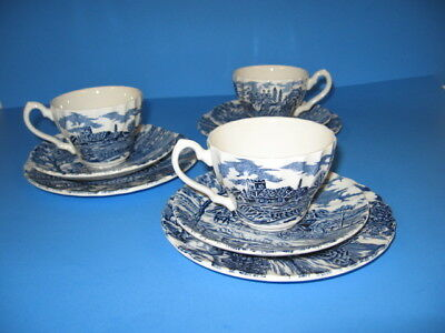 Myott Royal Mail Staffordshire Ware Cups Saucers Dessert Plates Blue 9 pieces