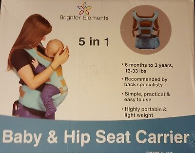 Brighter Elements 5 in 1 Ergonomic Baby Carrier with Hip Seat