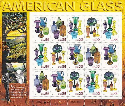 U.S. COMMEMORATIVE PANE OF 15 SCOTT#3328a 1999 33ct AMERICAN GLASS MNH AT FACE