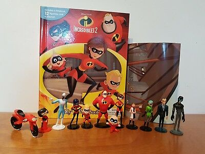 Disney Pixar Incredibles 2 My Busy Book + 12 Character Figurines & Playmat