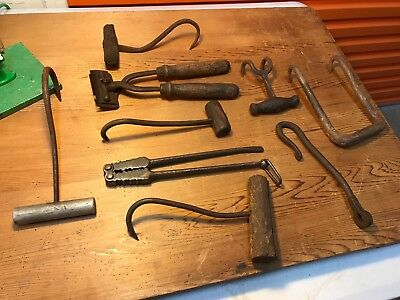Collection of Antique Vintage Australian Farm Butcher's Hooks Tools Clippers