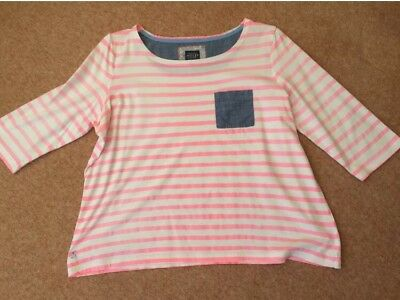 JOULES WHITE/FLUORESCENT PINK STRIPED TOP   Size 18
