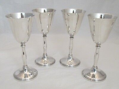 Set of 4 Vintage Silver Plated Wine Goblets / Wine Glasses / Cups