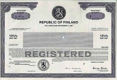 Republic of Finland, 13 5/8% Note due September 1, 1987 (Blankette)