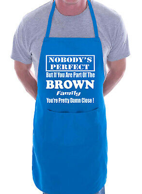 Adult Personalised Apron BBQ Fathers Mothers Day Gift Funny Brown Any Surname