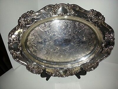 "Vintage Towle Silver Plate 17"" Serving Platter Pattern 4071-Old Master Embossed"