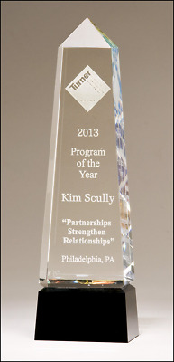 **new Crystal Obelisk With Prism Effect Clear With Black Glass Base Engraved