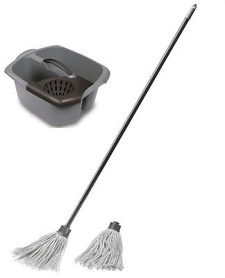 Double Mop Bucket And Wringer Metallic Graphite With Cotton Mop Free Refill