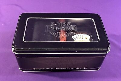 New Harley Davidson Game Set Tin Box with Cards Dice & Leather Dice Tumbler