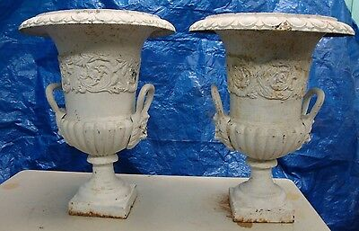 Vintage Antique Cast Iron Urns Flower Pots 2 Pcs.  (B)