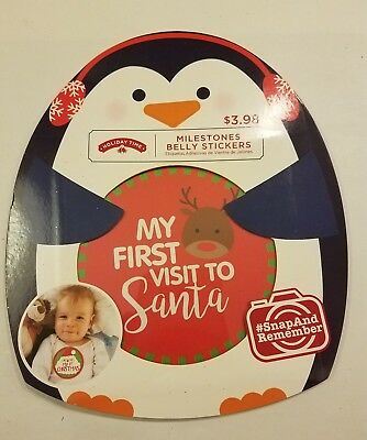 Holiday Time Infant Milestone Sticker Set 6 Belly Stickers first Christmas Santa