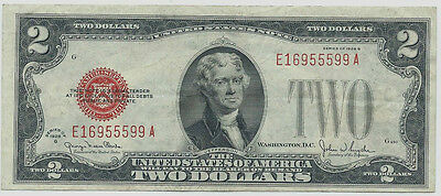 1928G $2 Red Seal United States Note. FR1508.  Grade: About Uncirculated