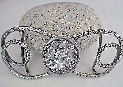 "Antique Art Nouveau Silver Plated Repousse Woman Snake Belt Buckle 3 1/2"" Long"