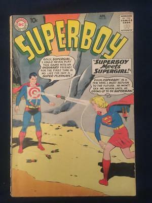 SUPERBOY #80 (1960) Key Issue: 1st Superboy Supergirl meeting, around G/VG (3.0)