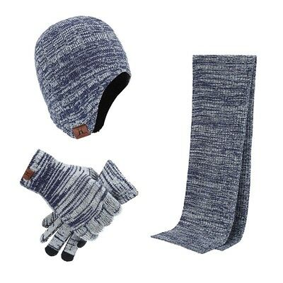New Men Winter Gloves Scarf Hat 3PCs Set Knitted Comfortable Outdoor Protection