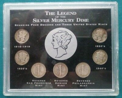 1916-1945 The Legend of the Silver Mercury Dime Collection of 7 Coins E0045
