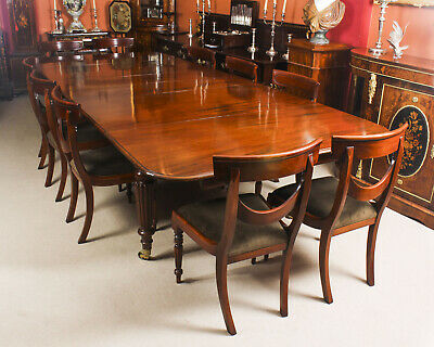 Antique 11 ft Flame Mahogany Extending Dining Table C1840 & 10 chairs