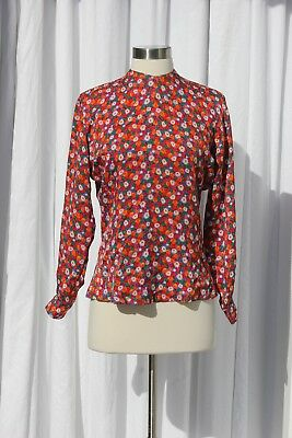 Vintage 1940s Floral Print Long Sleeve Silk Blouse Size Xs Small