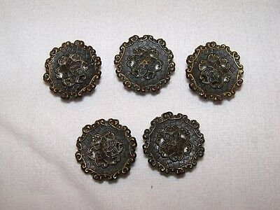 5 (FIVE)Vintage ROUND ALLISON Japan DRAWER PULLS, HANDLES ROUND KNOBS ANTIQUES