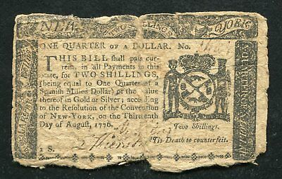 Ny-200 August 13, 1776 $1/4 One Quarter Dollar New York Colonial Currency