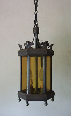 Antique  French Gothic, Baroque,,forged Iron & Glass  Lantern Chandelier  Light