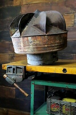 Vintage Barn Cupola Galvanized Tin Roof Turbine Spinning Vent Topper Rustic Old