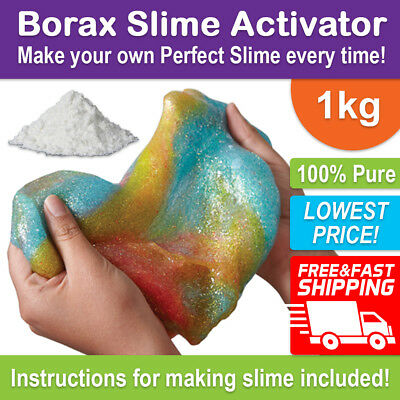 BORAX Slime Activator Maker 1kg - 100% Pure Sodium Tetraborate Decahydrate 1000g