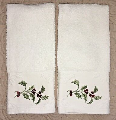 Two fancy Sophia embroidered Christmas holidays hand towels Holly Berries white