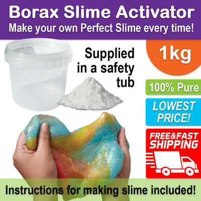 BORAX Slime Activator Maker 1kg in a SAFETY TUB - 100% Pure for Perfect Slime