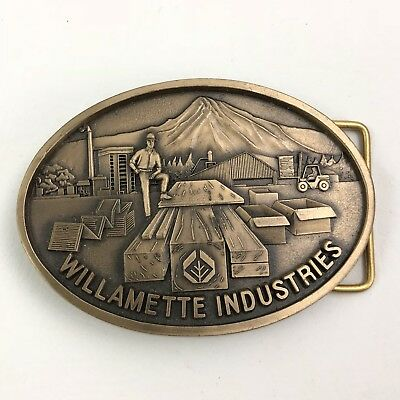 3D Belt Brass Buckle Williamette Forest Products Industries Wood Mill Oregon