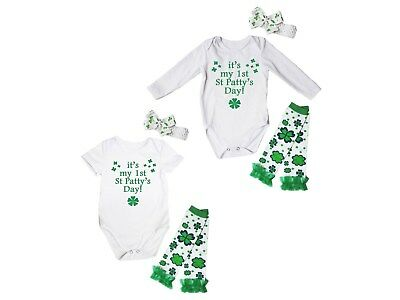 It's My 1st St.Patty's Day White Baby Girl Bodysuit Jumpsuit Leg Warmer NB-18M