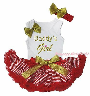 Valentine Daddy Girl White Cotton Top Shirt Red Striped Baby Skirt Outfit 3-12M