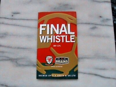 Brains Final Whistle real ale beer pump clip sign football theme