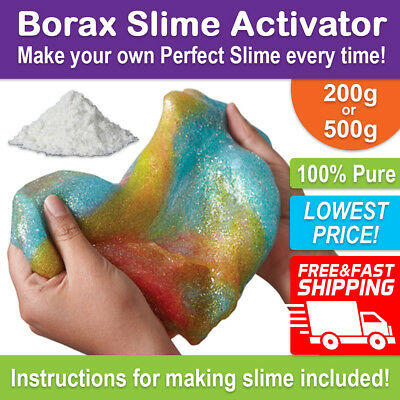 BORAX Slime Activator Maker 200g or 500g - Pure Sodium Tetraborate Decahydrate