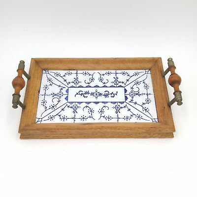 "Small Wood Framed 7""x 4"" Blue & White Pattern Porcelain Tile Tray w/Handles"