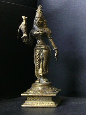 (eN447)  India: Vintage Brass Radha figure with parrot