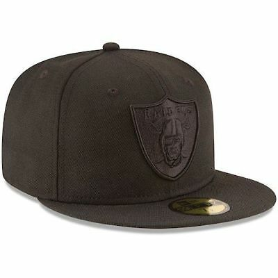 3e79c8d6 New Era Cap 59FIFTY OAKLAND RAIDERS ON FIELD Black on Black Hat Fitted 5950