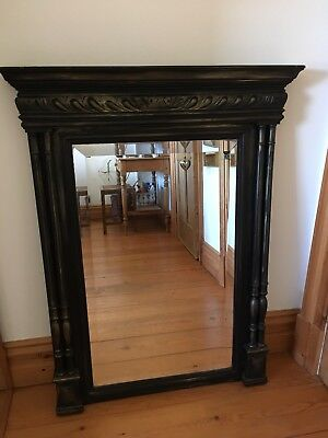 Charming Antique French Style Painted Black Column Mirror